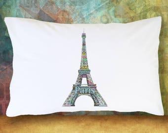EIFFEL TOWER PARIS Pillow Case Decoration Room Decor Bedding Blue & Green Traveller Europe France Soft Pillowcase Gift