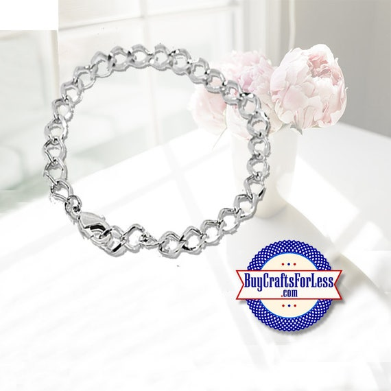 "Chain Charm Bracelet, 10 PCS, 7  1/2"", clip  **20% OFF plus FREE Shipping**"