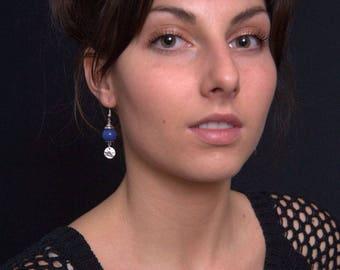 Blue earrings - dangling earrings - Silver earrings - dangle earrings glass beads