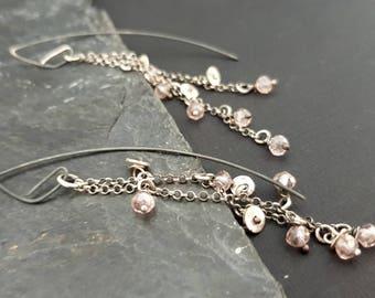 Pink Crystal Earrings, Handmade disc 925 Sterling Silver