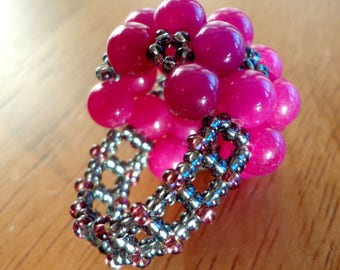 Pink glass bead ring