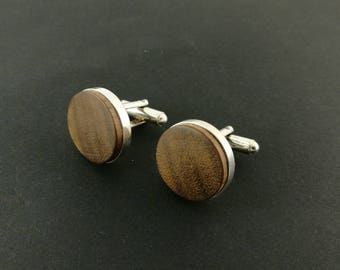 Cufflinks by Wūūd - Sterling Silver (925) and Natural Black Walnut Wood