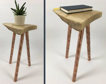 Copper Side Table Copper Bedside Table Live Edge Table
