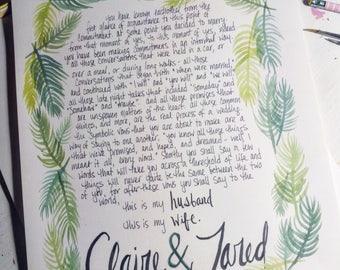 Watercolor Fronds Custom Keepsake Marriage Certificate/Ketubah