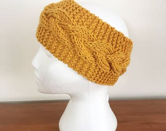 Cabled Knit Headband - Womens Earwarmer - Winter Headband - Cabled Headband - Winter Knitwear - Mustard Earwarmer - Braided Earwarmer