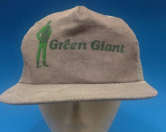 Vintage Green Giant Trucker SnapBack hat 1980s Mesh back