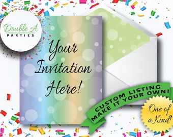 Custom Printable Party Invitation - Add a Picture, Custom Text, Change Colours