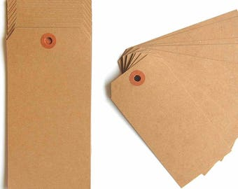 "Large Recycled Natural Brown Kraft Shipping Tags With Reinforced Hang Tags - 2 3/8"" X 4 3/4"" - Qty = 100, Black Kraft Tags, Kraft Tags"