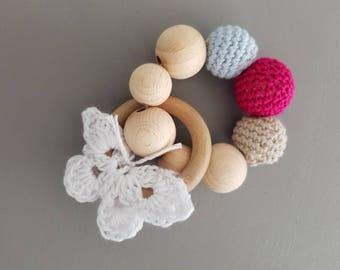 Wood teething ring 'butterfly'- rattle - crochet