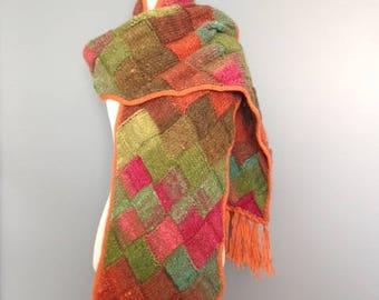 Hand knit Entrelac Scarf