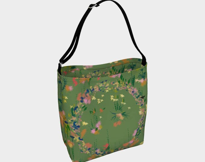 Green Floral Tote Bag, Book Tote, Grocery Bag, Tote Bag, Printed Tote Bag inside and out, Customized Strap