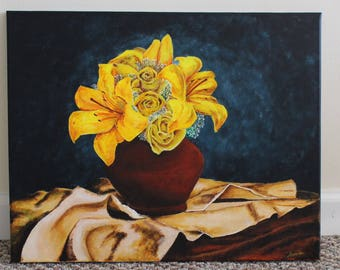 Yellow lilies and roses