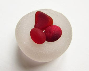 Rare Red Scottish Sea Glass - 3 Small Pieces of Red Sea Glass - Collectors Sea Glass - Arts Crafts Supply - Naturally Surf Tumbled