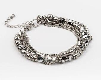 MULTISTRAND, swarovski, stainless steel bracelet