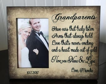 Grandparents picture frame gift for wedding // wedding gift for grandparents from bride //6x4 picture frame
