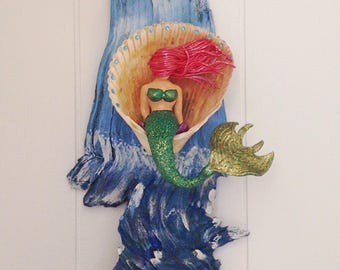 Mermaid Art Sculpture,Mixed Media Wall Art, Driftwood Wall Art,Mermaid Sign,Mermaid Painting,Mermaid Clay Sculpture,Nautical Wall Decor