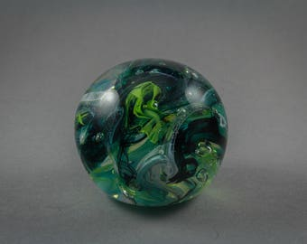 Green and Blue Glass Paperweight