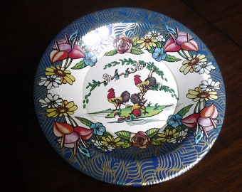 Vintage Roosters Tin Plate Brazil Action Industries