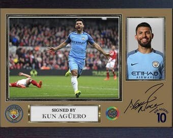 Kun Sergio Aguero signed autograph photo print repro Football Man City Framed #6