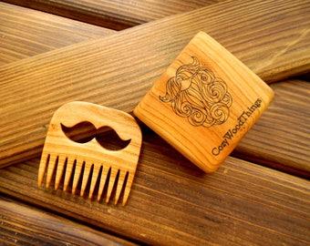 Wooden beard comb Wood comb Beard Mustache hair comb Boyfriend brother gift Beard care Pocket comb Barber shop decor Barber gift Beard gift