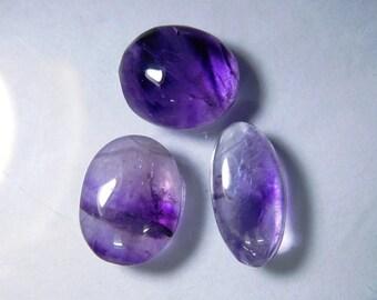 Smooth Purple Amethyst gemstone, 3 pcs. Amethyst loose gemstone, Natural Amethyst cabochon, Amethyst loose stone 27 Cts. R-2506