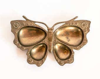 Brass Butterfly Trinket Dish, Mid-century Brass Butterfly Dish, Gold Butterfly Catchall Dish, Butterfly Ring Dish, Hollywood Regency