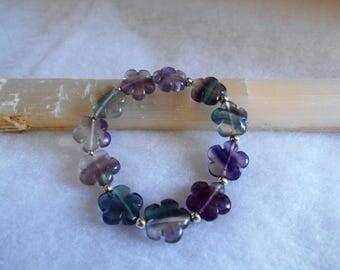Flourite Flower Strech Bracelet