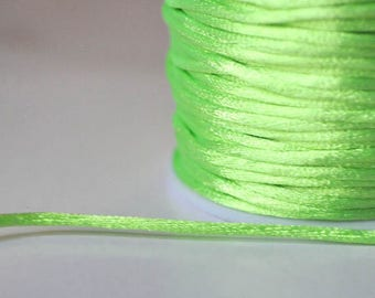 1 meter yellow fluorescent 2mm satin rat tail cord