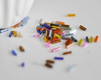 10 gram glass metallized mutlicolore - 6mm x 2mm Tube seed beads