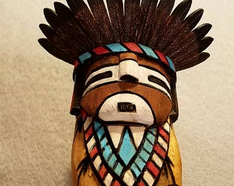 Zuni Commanche Kachina by Jerome Nequatewa
