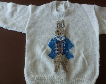 Peter Rabbit jumper, white background, motif front and back
