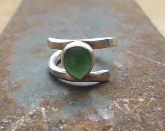 Aventurine Silver Spiral Ring