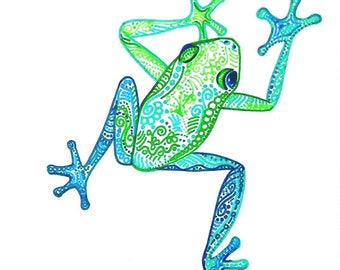 Tree Frog Drawing Tropical Frog Art Colorful animal drawing Frog Decor Kids room  Baby room Green Frog Decor baby shower gift its a boy