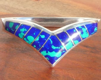 Taxco Sterling Silver, Azurite / Malachite Inlay Bangle Bracelet