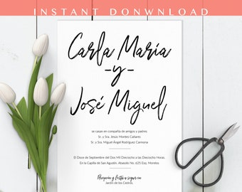 Invitaciones de boda, Spanish wedding Invitation, Brush Script, Nuestra Boda, Our wedding. Instant download invite DIY In Spanish