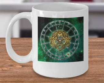 Zodiac Horoscope coffee mug - LEO star sign symbol - Constellation birthday gift