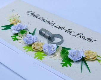 Floral purse over yellow roses | Robre gift | about | wedding | Roses | flowers | card