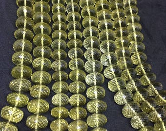AAA Lemon quartz rondelle, Lemon quartz faceted beads