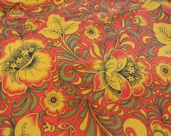 Slavic cotton fabric by the yard, boho fabric, russian folk fabric, Vintage Soviet Fabric, Slavic ornament, Eco, russian cotton fabric