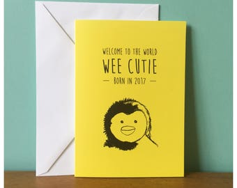 Wee cutie penguin new baby greeting card