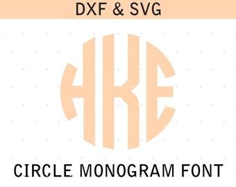Circle Monogram Font, circle monogram svg, circle font, dxf, eps, svg, initials, silhouette, cricut, digital download, instant download