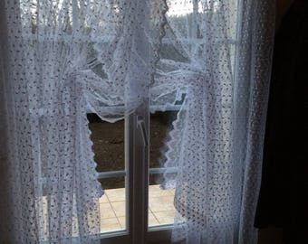Sheer white Tulle Lace Curtains