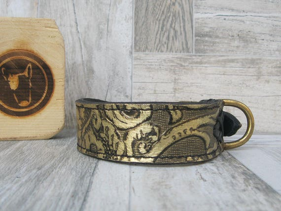 Floral Leather Dog Collar with Solid Brass Hardware, Stylish Dog Collar, Luxury Dog Collar, Handmade Dog Collar, Fashion Dog Collar