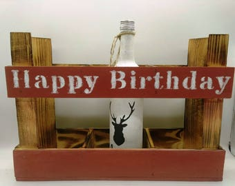 Birthday box, wine rack, bottle rack, bottle rack, gift box, wine box, crate, wooden crate, birthday, Bottle box, advent calendar