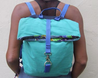 Canvas and African print back pack