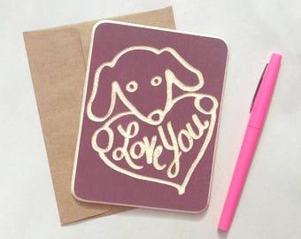Romantic dog card, dog anniversary card, wooden card, wood postcard, wood greeting card, sending love card, dog love card, quirky love card
