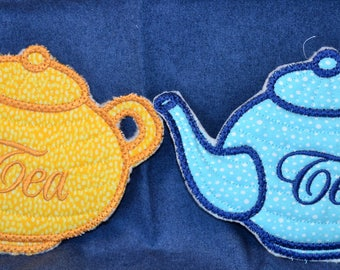 Tea Pot Coasters for the tea lover, comes in any color and can be personalized