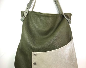 Harper khaki silver leather bag