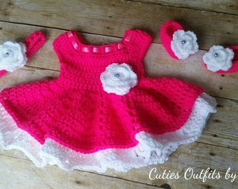 Pink Crochet Baby Dress, Infant Baby Set, Baby Girl Outfit, Newborn Baby Outfit, Coming Home Outfit, Conjunto Tejido de Bebe, Vestido Nina