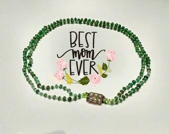 Double Strand Emerald Gemstone Necklace Antique Georgian Jewellery (196)